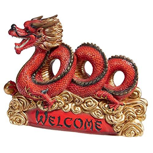Design Toscano QM15006 Statuette Asiatique de Jardin Dragon Zen Inscription Welcome, Multicolore, 11,5 x 34,5 x 25,5 cm