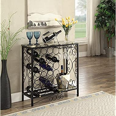 Black and Marble Look Top with 24 Bottles and Glass Holder Wine Organizer Rack Cabinet Kitchen 36 W