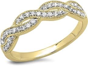 Dazzlingrock Collection 0.30 Carat (ctw) 14K Gold Round Diamond Ladies Bridal Anniversary Wedding Stackable Swirl Ring 1/3 CT