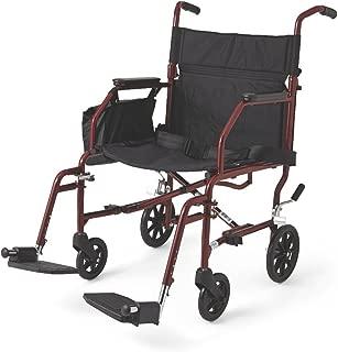 Medline Lightweight Steel Transport Chair, Burgundy