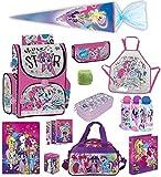 Familando My Little Pony Schulranzen-Set 13 TLG. mit Schultüte 70cm, Sporttasche, Regenschutz und Federmappe Einhorn Regenbogen für Mädchen