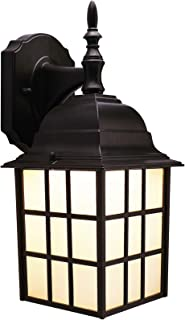 CO-Z Exterior Light Fixtures Wall Mount, Outdoor Wall Lantern with LED Bulb for Porch Front Door Farmhouse,Black Outdoor Wall Lights with Oil Rubbed Bronze Finish & Housing Plus Frosted Glass, ETL.
