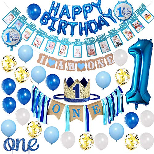 Baby Boy 1st Birthday Decorations and Photo Banner 0-12 Month, First Birthday Crown, Cake Topper ONE, Happy Birthday Balloons Banner, Number 1 Foil Balloon, Blue and White Balloons Party Decorations.