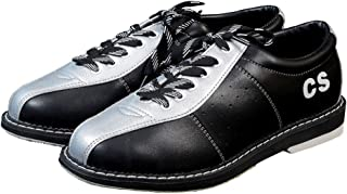 Men's Women's Bowls Shoes, Genuine Leather Lightweight Breathable Bowling Trainers Indoor Outdoor Non-Slip Sneakers,Silver,37