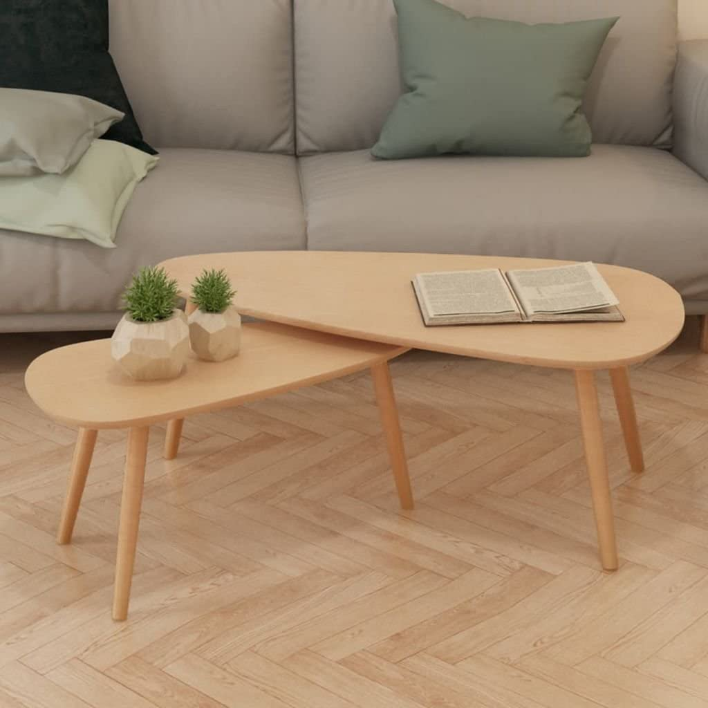 INLIFE Coffee Table Set 2 Brown-9.5KG Pinewood Very popular New sales Solid Pieces