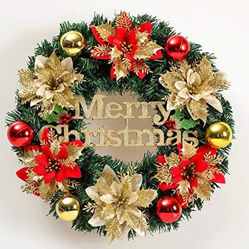 ZN-Christmas Weihnachtskranz-Traditioneller Adventskranz mit bruchsicheren Kugelornamenten , 15,7-Zoll-Kranz-Hauptweihnachtsdekorations-Türfenster