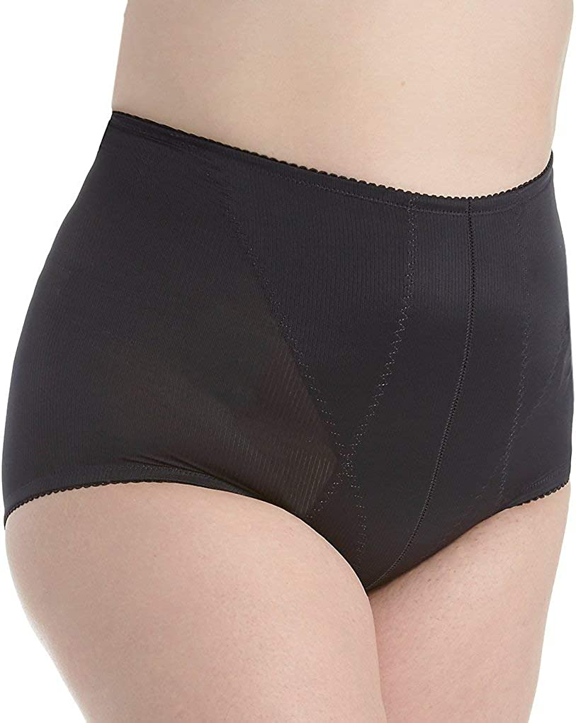 Q-T Intimates Women's Retro High Waisted Tummy Control Brief - Supportive Ladies Shapewear