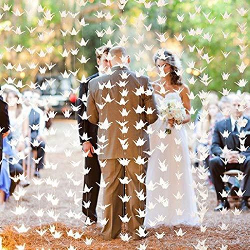 200 ghirlande di carta bianca per gru di nozze, decorazioni per feste nuziali, origami, uccelli, sfondo per baby shower, fidanzamento, San Valentino, feste di compleanno