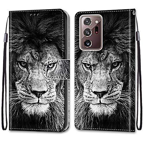 Nadoli Handyhülle Leder für Samsung Galaxy Note 20 Ultra,Bunt Bemalt Cool Schwarz Weiß Löwe Trageschlaufe Kartenfach Magnet Ständer Schutzhülle Brieftasche Ledertasche Tasche Etui