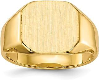 67b206585edc83 Diamond2deal 14 K giallo oro anello sigillo da uomo con apertura posteriore