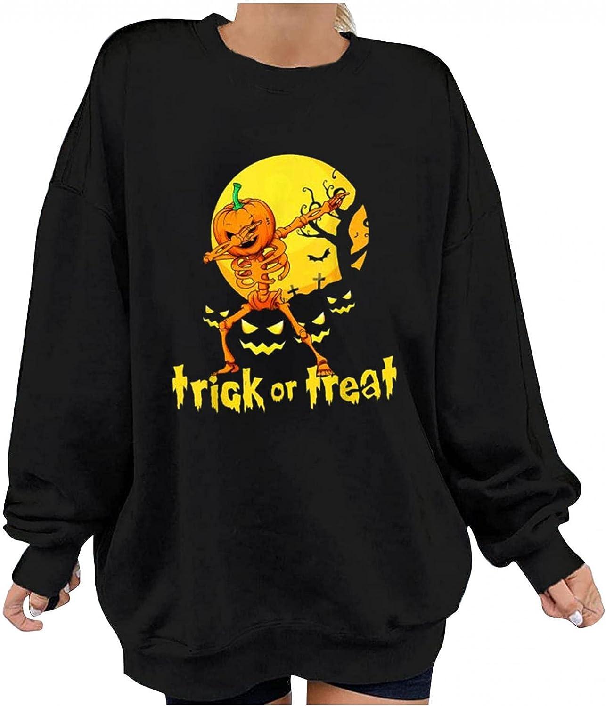 Women Black Sweatshirt Halloween Pullovers Long Sleeve Round Neck Casual Loose Tops Graphic Shirt Blouse Fall T-Shirt