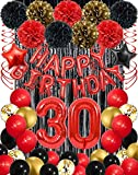 30th Red and Black Balloons Happy Birthday Party Decorations for Her Him, Happy 30th Red Happy Birthday Balloons Banner Decorations, Red Black Gold Confetti Balloons Decoration for Birthday Parties, Party Supplies for Adults, Baloons for Birthday Party, Black Foil Fringe