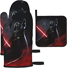 KOKOSTORE Star War Darth Vader Oven Mitts and Pot Holders 3pcs Set,Non-Slip Heat Resistant Washable Kitchen Oven Glove Hig...