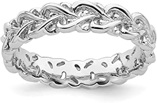 925 Sterling Silver Intertwined Heart Band Ring S/love Stackable Textured Fancy/Carved Fine Jewelry For Women Gift Set