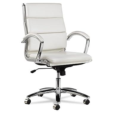 Alera Neratoli Mid-Back Swivel/Tilt Chair, White Faux Leather, Chrome Frame