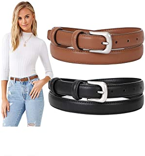 2 Pack Womens Skinny Leather Belt SUOSDEY Solid Color Waist Belt with Pin Buckle for Jeans Dress...