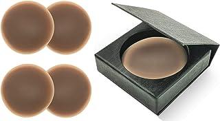 Cubierta de Pezón Adhesivos Invisible de Silicona Suave, 2 Pares & Caja Almacenaje elegante, Pezoneras Reutilizables Redon...