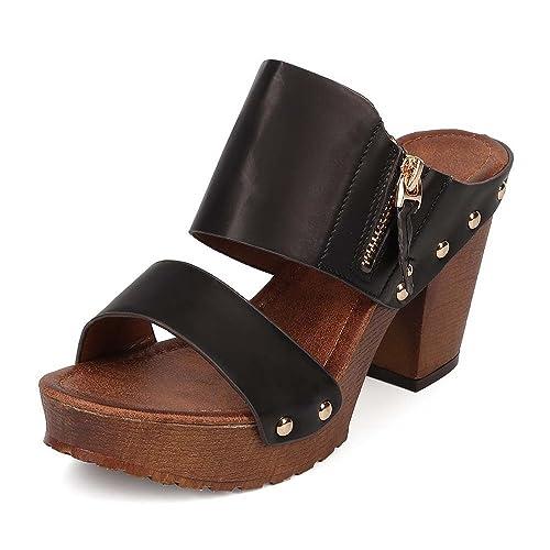 bda9df8a003 Women s Chunky Platform Heel Sandals Block High Heel Slide Studded Slip on  Summer Holiday Shoes VT03