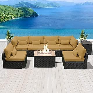 Modenzi Outdoor Sectional Patio Furniture with Propane Fire Pit Table Espresso Brown Wicker Resin Garden Conversation Sofa Set (G7 Sofa Rectangular Fire Pit, Dark Beige)
