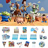 Nidezon Toy Story 4 Birthday Party Supplies,100 Pieces Party Birthday Decoration Shower Decorations For 6 With Toy Story 4 Theme backdrop,Tablecover,Plates,Napkins,Cups,Birthday Banner, blowing dragon, whistle invitation card and cake toppers