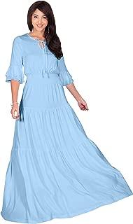 KOH KOH Womens Boho Casual Modern Vintage Design Loose Peasant Gown Maxi Dress
