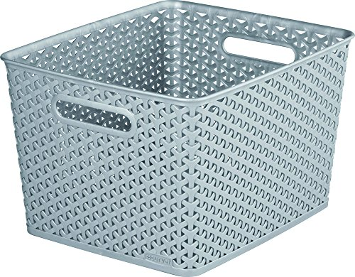 CURVER | Rangement Aspect rotin empilable L rectangulaire - My Style, Argent, Storage Others, 33,5x29,5x22 cm