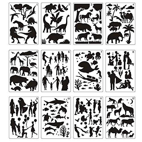 12pcs Tierzeichnung Vorlage Schablonen Malschablonen für Kinder Kinder Zeichnen Handwerk