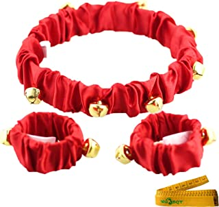Wiz BBQT Pet Cute Christmas Jingle Bells Decorative Red Collar Ankle Cuffs Set for Cats Dogs