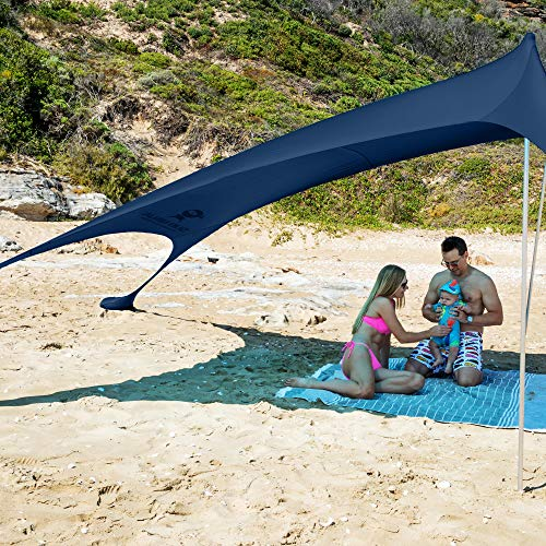 SUN NINJA Pop Up Beach Tent Sun Shelter UPF50+ with Sand Shovel, Ground Pegs and Stability Poles, Outdoor Shade for Camping Trips,...