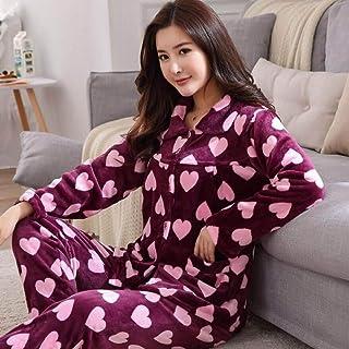 Conjunto De Pijamas Para Mujeres,2 Unids Otoño Invierno Púrpura Amor Corazón Impresión Franela Manga Larga Pajamas Traje Grueso Caliente Coral Polar Ropa De Dormir Mujer Más Tamaño Camisón Home