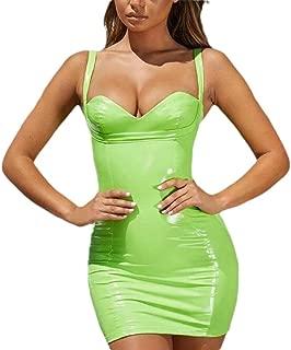 dos en dentelle taille M PVC Robe PVC Aspect Mouillé Robe Mini