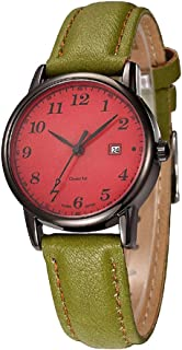 PANFU-AU Simple Leather Strap Round Dial Arabic Numerals Analog Quartz Dress Wrist Watch Couple Watch Women's Quartz Watch with Gold Dial Analogue Display and Brown Leather Strap (Color : Style D)