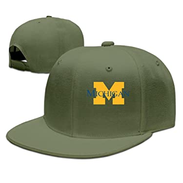 SSEE Unisex-Adult University of M Logo Michigan Ann Arbor Flat Billed Baseball Caps Natural