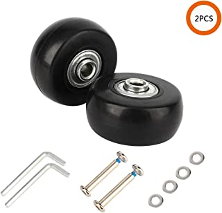 YVO Luggage Suitcase Wheels Inline Spare Mute Castors Outdoor Skate Replacement Rubber Wheels with Repair Kit Bearings Axles for Trolley Case Travel Suitcase - Black Set of 2