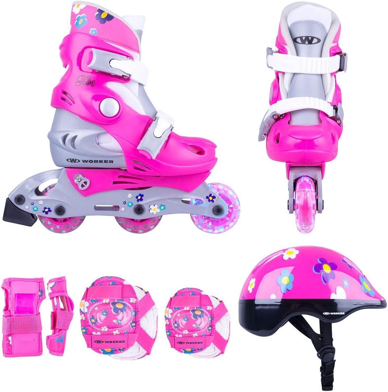 Kinder Inline Skates Set Set Set Polly LED Leuchtrolle Gr. 26-29, 30-33 verstellbar  Schutzset  Helm (26-29 verstellbar) B071X4MCDK  Bestätigungsfeedback bba2c8
