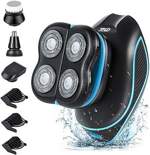 5 IN 1 Húmedo & Seco Afeitadora Electrica Hombre,5D Electrica Máquina de Afeitar,4 Cabezas Rotativa Afeitadora Para Barba,Afeitadora calva,Recortadora Barba,IPX7 Impermeable,sin Cable,USB Recargable