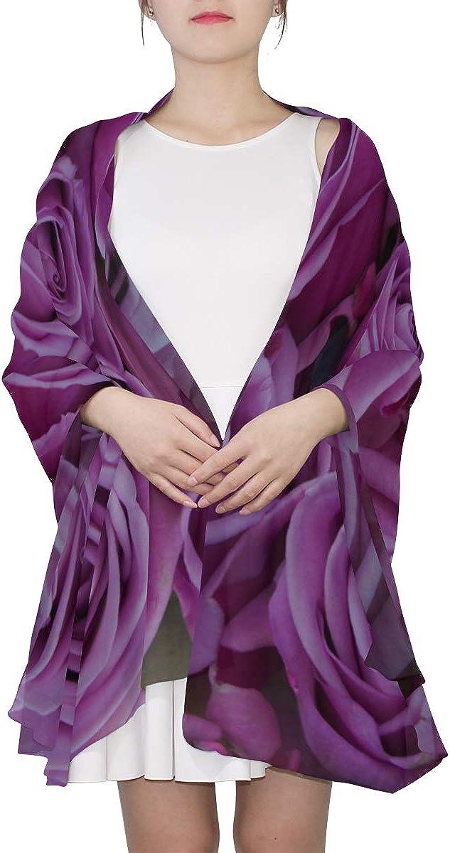 Womens Fashion Scarfs Lightweight Vivid Deep Purple Flower Rose Shawl Wrap Summer Scarf Women Lightweight Print Scarves Scarf Men Lightweight Large Shawl Wrap