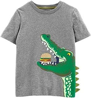 Carter's Boys Girls Alligator Hamburger Short Sleeve Slub Jersey Cotton Tee