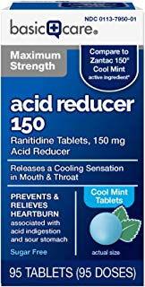 Basic Care Maximum Strength Acid Reducer 150, Cool Mint Tablets, 95 Count