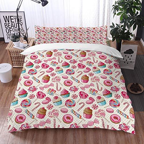 Bedding Juego de Funda de Edredón -Donut Dulce Colorido Lollipop Dulce Macarrón Magdalena Donut/Microfibra Funda de Nórdico (Cama 220 x 240 cm + Almohada 50X80 cm)