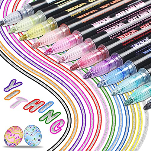 YITHINC Nuove Penne di Contorno,12 Colori Penne di Contorno a Doppia Linea Penne da Scrittura a Doppia Linea su Carta Segnaposti,Pittura ed Artigianato d'Arte Fai da Te