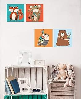 Oedim Pack de 4 Cuadros Infantiles Cartón Ecológico Animalitos |30 x 30 cm | Decoración Habitación Diseño Elegante | Cantos Impresos |
