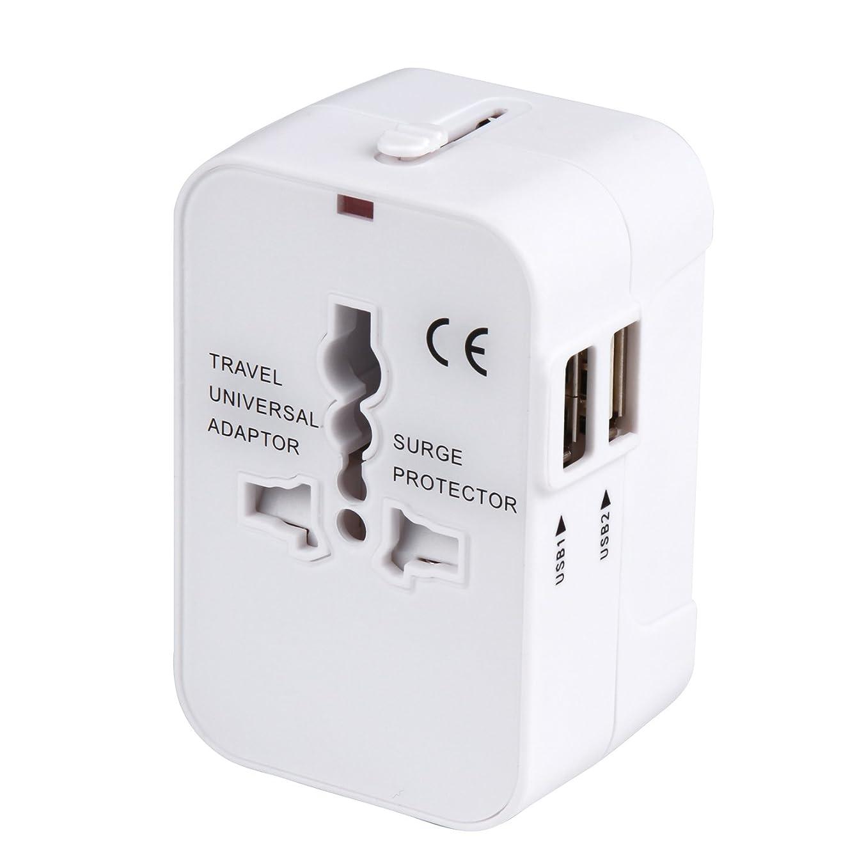 ファブリックラッドヤードキップリング最大限海外安全旅行充電器 コンパクトな コンセント 2USBポート変換プラグ 電源プラグ 旅行アダプター 壁の充電器 NONNBIRI(ホワイト)
