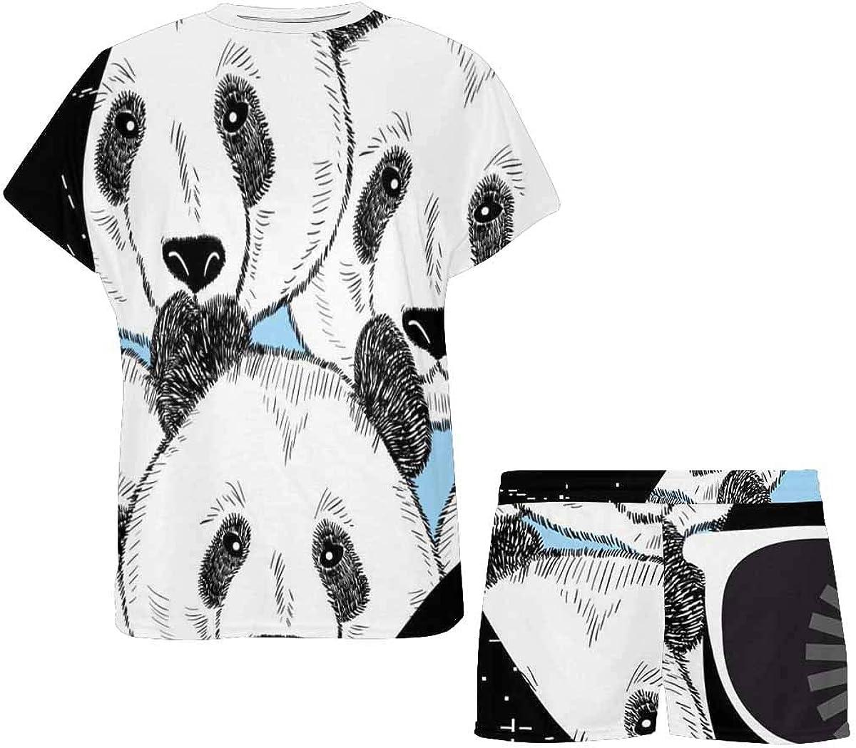 InterestPrint Panda Funny Pattern Women's Pajama Sets Short Sleeve Shorts - Pajamas for Women
