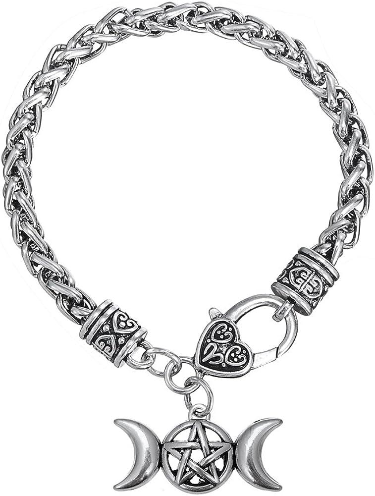 Triple Moon Goddess Amulet Wicca Pentagram Wheat Chain Bracelet for Women Men Pagan Jewelry