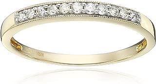 Jewelili 10kt Yellow Gold Diamond Anniversary Ring (1/6 cttw)