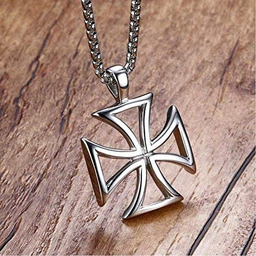 Men s S Maltese Cross Pendant Necklace Stainless Steel Vintage Hollow Male Necklace Chain 24th