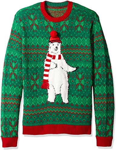 Blizzard Bay Men's Polar Bear Scarf Ugly Christmas Sweater, Green, Large
