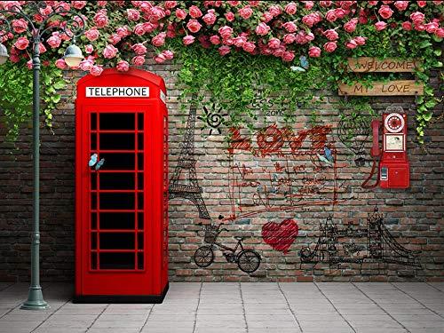 Papel tapiz fotográfico 3D No tejido fotomurales 350(W)X256(H) cm Moderna Murales Papel Pintado para Decoración de Paredes de Dormitorio y Salón Cabina de teléfono roja de flor de pared