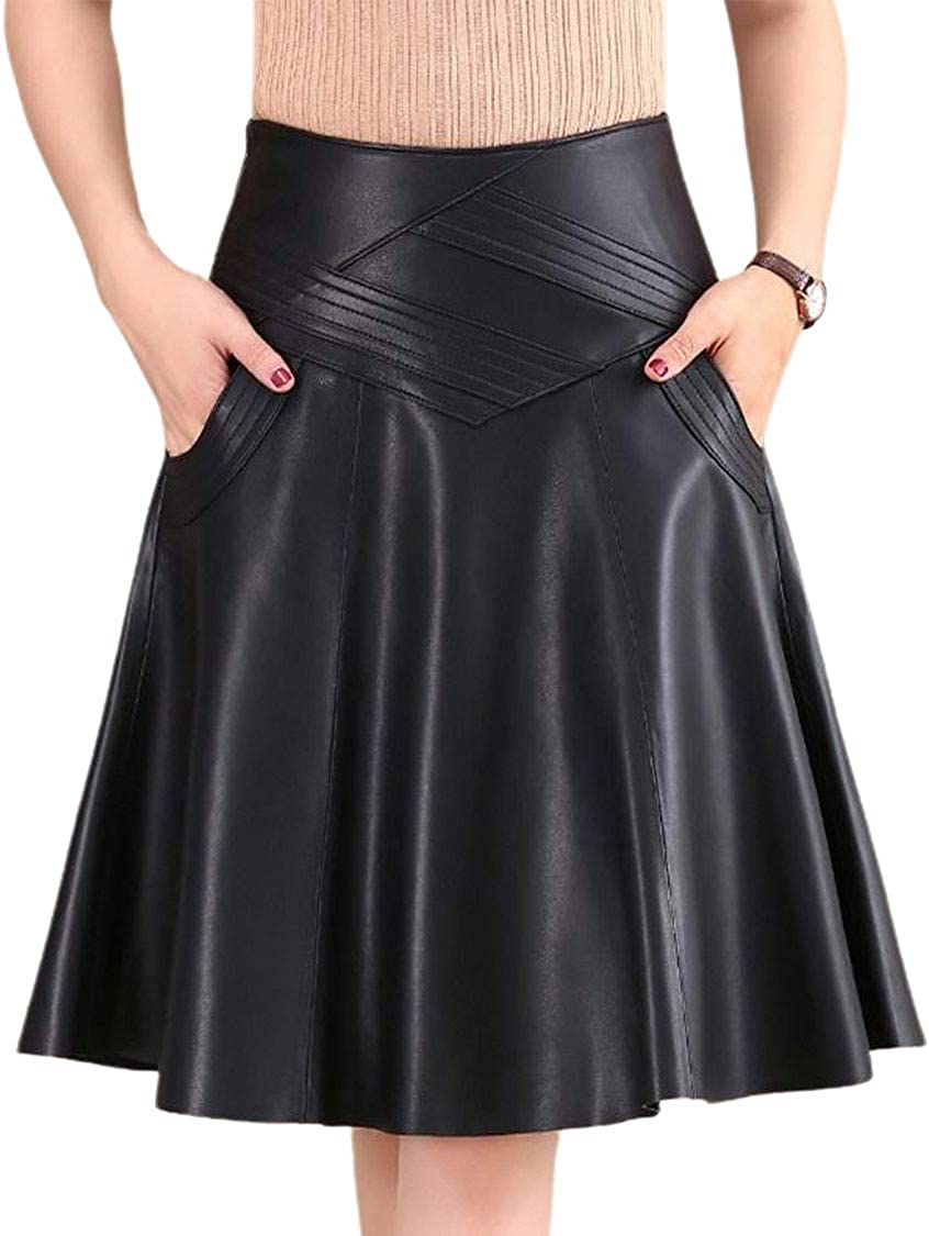 ebossy Women's High Waisted Knee Length Faux Leather Flared A-Line Skirt
